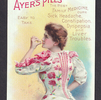 Ayers Sick Headache Pills Cure 19th Century Patent Medicine Victorian Trade Card