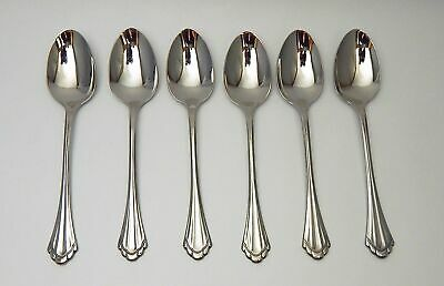 Oneida Marquette Stainless Cube Community 6 Teaspoons Teaspoon EUC Free Ship