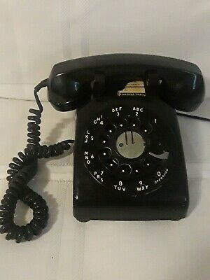 Vintage Bell System Western Electric Black Rotary Dial Desk Phone G1 receiver