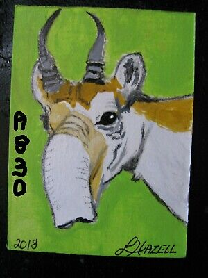 "A830          Acrylic Aceo Painting By Ljh        ""Saiga Antelope"""