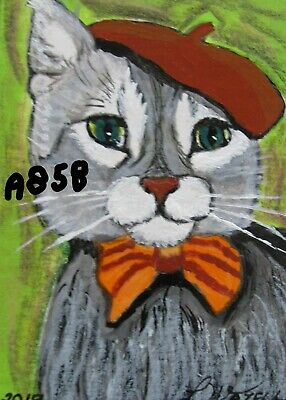 """A858           0Riginal Acrylic Aceo Painting By Ljh         """"Pierre"""""""