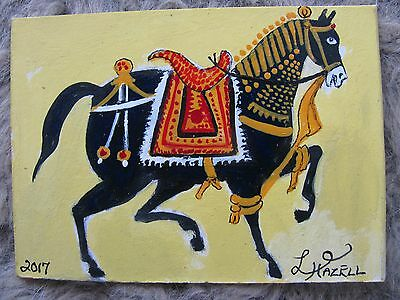 "A489     Original Acrylic Aceo Painting By Ljh  ""Parade Horse"" One-Of-A-Kind"