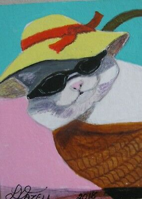 "A698        Original Acrylic Aceo Painting By Ljh      ""Basket Kitty""    Cat"