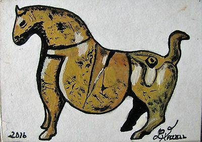 "A362     Original  Acrylic Art Aceo Painting By Ljh  ""Antique Bronze Horse"""