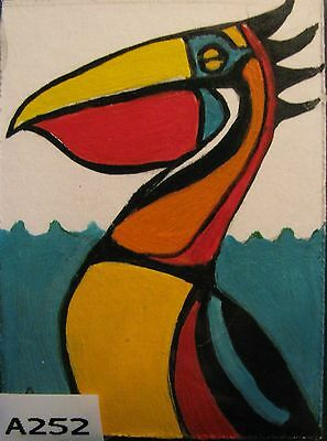 "A252   Original Acrylic Aceo Painting By Ljh  ""Abstract  Pelican"""