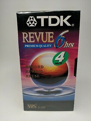 TDK Revue Blank VHS  Tapes T-120 6 Hour 4 Pack - NEW