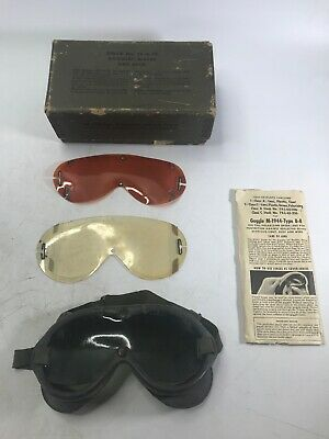 M-1944-Type B-8 US Military All Purpose Goggles WWII with Box and Extra Lenses