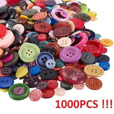 1000PCS Lot Resin Buttons 2/4 Holes Sewing Craft DIY Assorted Color Size