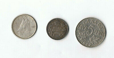 Canada Silver 1909 5 Cent + 1960 10 Cents, 1922 5 Cents