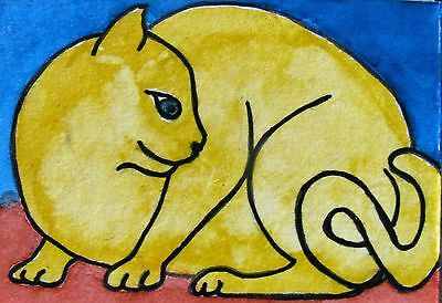"A342      Original Acrylic Aceo Painting By Ljh  - ""Yellow Cat"""