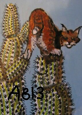 "A813         Original Acrylic Aceo Painting By Ljh    ""Lynx On Cactus''"