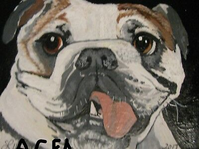 "P1-A568 Print Of Original Acrylic Painting By Ljh  ""Major""  Bull Dog"