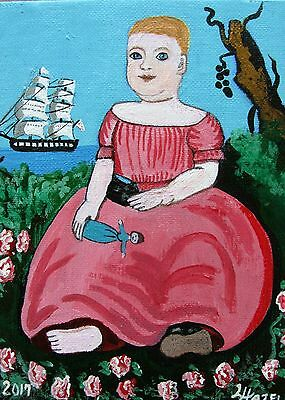 "C345 Original Acrylic Painting By Ljh ""Young Child With Shoe"" American Folk Art"