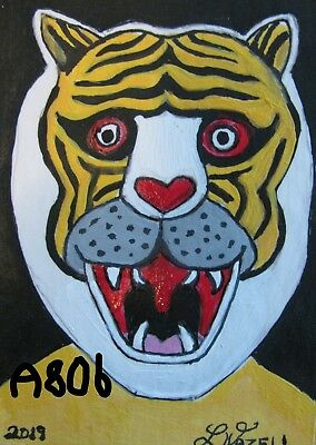 """A806        ORIGINAL ACRYLIC ACEO PAINTING BY LJH    """"MASK""""  One-Of-A-Kind"""