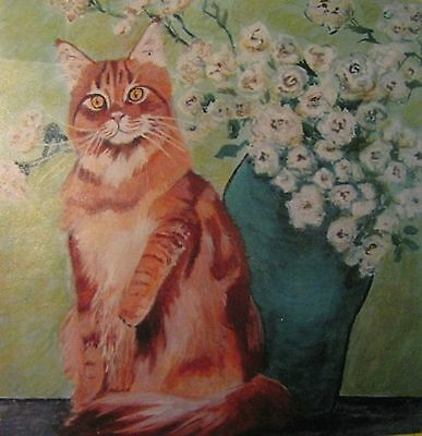 "C181  Original Acrylic Painting By Ljh   ""Maine Coon With Vase/Flowers""  Cat"