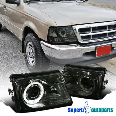 For 1998-2000 Ford Ranger Smoke Lens Projector Headlights Lamps w/ Halo Ring