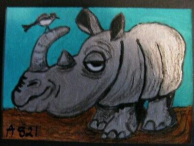 "A821      ""New"" Original Acrylic Aceo Painting By Ljh  ""Rhino"""