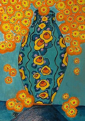 "C319 Original Acrylic  Painting By Ljh  ""Orange & Turquoise Vase"""
