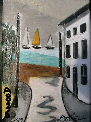 "A826     Original Acrylic Art Aceo Painting By Ljh       ""Street Germany''"