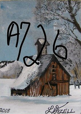 "A726    Original Acrylic Art Aceo Painting By Ljh          ""Winter Barn''"