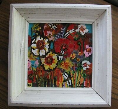 """C350 Original Acrylic Painting By Ljh  """"Dragonflies In The Flower Garden"""""""