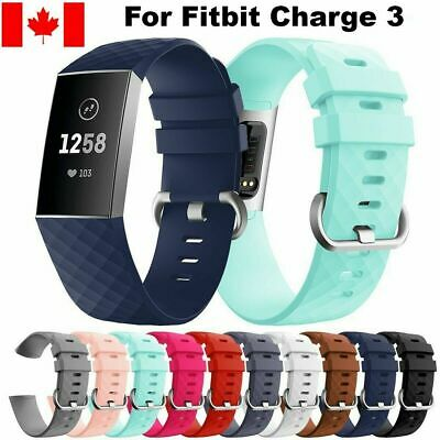 For Fitbit Charge 3 Wrist Strap Watch Band Replacement Silicone Diamond Bracelet