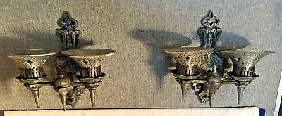Matching pair vintage cast aluminum GOTHIC Medieval Wall Sconce electric lights
