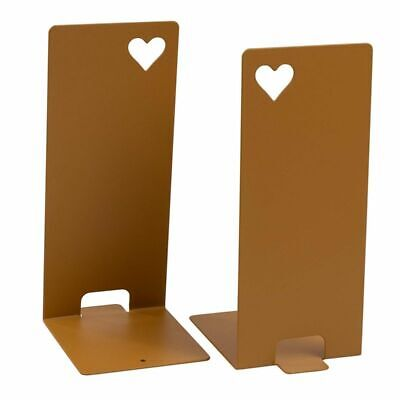 """1-Pair Antique Gold Metal Bookends NonSkid Heart Cutout Bookend Supports 8"""" High"""