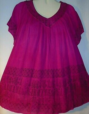 Womens Blouse Top Pink Black Long Full Tunic Short Sleeves Free Size Fits 1X 2X