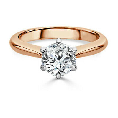 Round cut Diamond Engagement 2.00ct Solitaire Ring 14K Rose Gold  Size 5 6