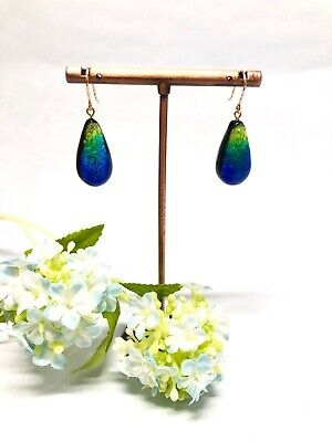 Phosphorescent Kerama Okinawa Firefly glass Teadrop Premium Earring from Japan