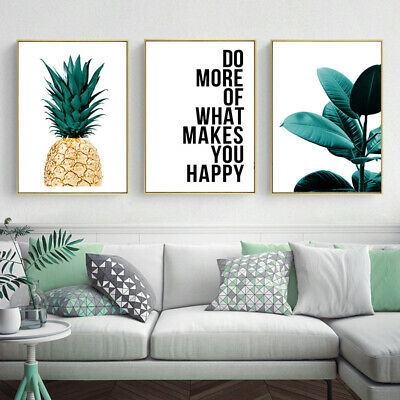 Golden Pineapple Leaf Motivational Canvas Poster Nordic Wall Art Botanical Print