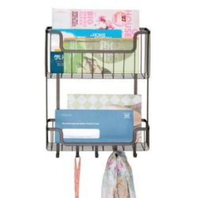 mDesign Two Tier Wall Mount Mail, Letter Holder, Key Rack Organizer for Kitchen