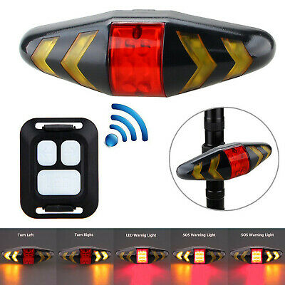 Bicycle USB LED Indicator Bike Rear Laser Turn Signal Tail Light Wireless Remote