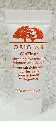 Origins GinZing REFRESHING EYE CREAM Brighten Depuff Eyes Face .17 oz/5mL New