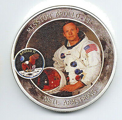 Neil Armstrong Apollo 11 Moon Landing Silver Coin 50th Anniversary Space Race US