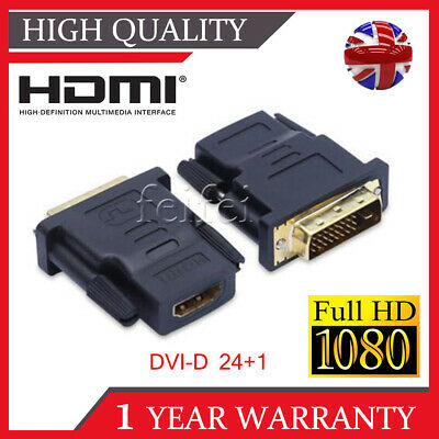 2Pcs Hdmi Female To Dvi-D (24+1) Male Socket Adaptor Adapter Converter Connector