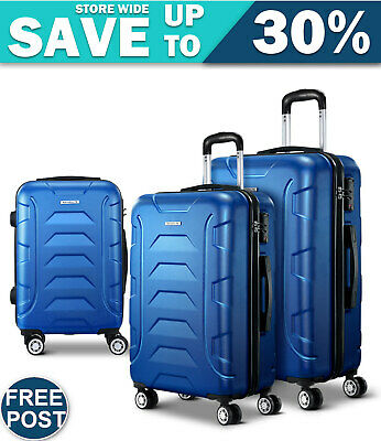 3PCS Carry On Luggage Sets Suitcase TSA Travel Hard Case Lightweight Blue
