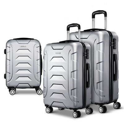 3PCS Carry On Luggage Sets Suitcase TSA Travel Hard Case Lightweight Silver
