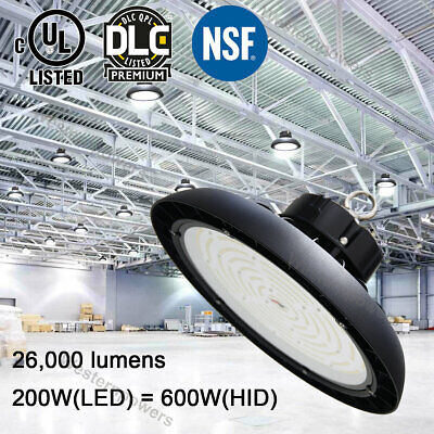 200W 110-277v UFO High Bay Light Dimmable Industrial Warehouse Store Shop LED