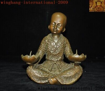 Old Chinese Buddhism temple Bronze small Monk Candlesticks Candle Holder statue