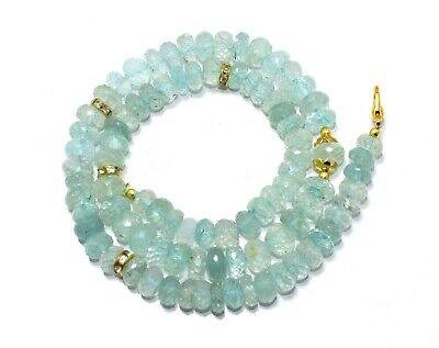 "Deal! 70.39 Gram Natural Aquamarine 8-10 MM Faceted Rondelle Beads 21.5""Necklace"