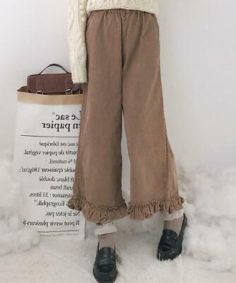 Womens Girls Japanese Style Ruffles Corduroy Cropped Pants Casual Trousers