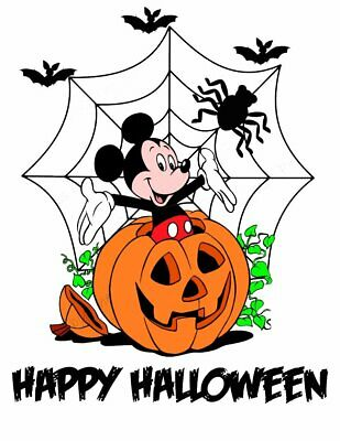 DISNEY HALLOWEEN MINNIE MICKEY MOUSE PERSONALIZED T-SHIRT IRON ON TRANSFER