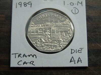 1989 Iom 50P Coin Isle Of Man Christmas Coin Tram Car Aa  Fifty Pence