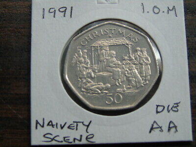 1991 Iom 50P Coin Isle Of Man Christmas Coin Naivety Scene Aa  Fifty Pence