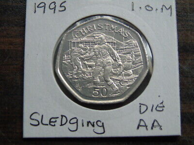 1995 Iom 50P Coin Isle Of Man Christmas Coin Sledging Aa  Fifty Pence