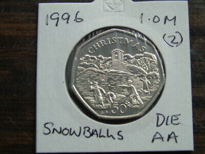 1996 Iom 50P Coin Isle Of Man Christmas Coin Snowballs Aa  Fifty Pence