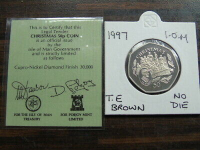 1997 Iom 50P Coin Isle Of Man Christmas Coin T E Brown No Die  Fifty Pence