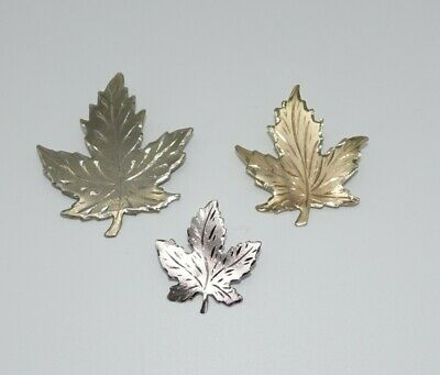 Vintage 3 lot SOLID Sterling Silver Canadian Maple Leaf BM Co Pin Brooch leaves